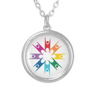 Rainbow Ring of Humanists Silver Plated Necklace