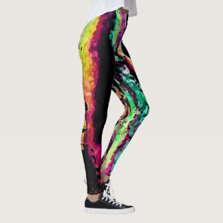 Rainbow Road black Leggings