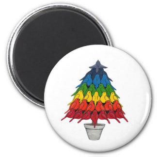 Rainbow Robins Christmas Tree Magnet