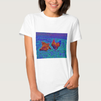 Rainbow Rooster & Hens, Electric Blue T Shirts