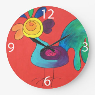 Rainbow Rooster Large Clock