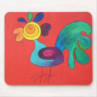 Rainbow Rooster Mouse Mat