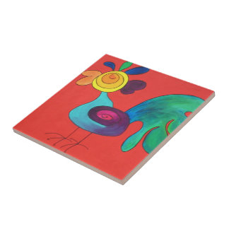 Rainbow Rooster Tile