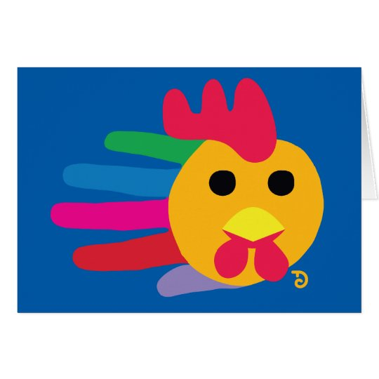 Rainbow Rooster with Red Comb Card