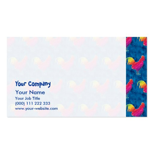 Rainbow roosters pattern business card templates