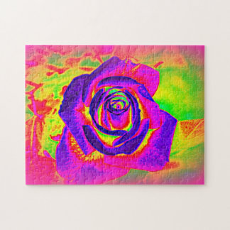Rainbow Rose Abstract Large Puzzle