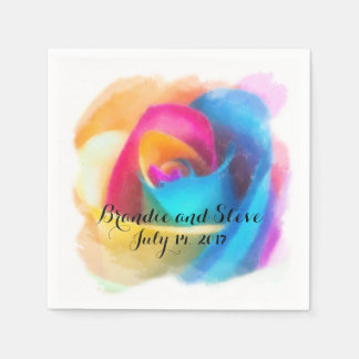 Rainbow Rose Disposable Serviette