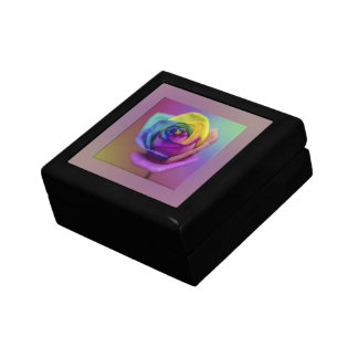 Rainbow Rose Flower Small Square Gift Box