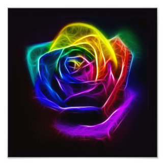Rainbow Rose Fractal Photographic Print