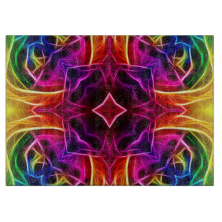 Rainbow Rose Kaleidoscope Cutting Board