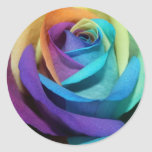 Rainbow Rose Love Flower Miss-you Peace Destiny Classic Round Sticker