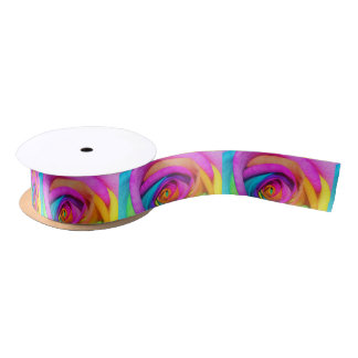Rainbow Rose Satin Ribbon