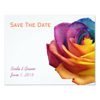 Rainbow Rose Save The Date Card 11 Cm X 14 Cm Invitation Card