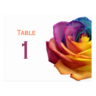 Rainbow Rose Table Number Postcard