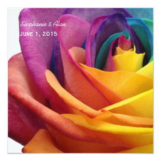 Rainbow Rose Wedding Invitation