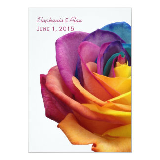 Rainbow Rose White Wedding Invitation