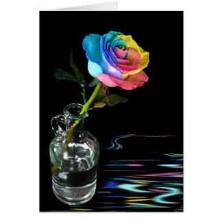 Rainbow Rose with water reflection Greeting Card