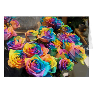 Rainbow Roses Notecard Note Card