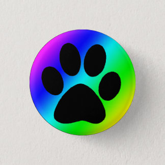Rainbow Round Dog Paw.png 3 Cm Round Badge