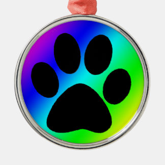 Rainbow Round Dog Paw.png Silver-Colored Round Decoration