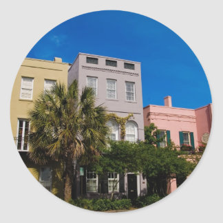 Rainbow Row Charleston, SC Classic Round Sticker