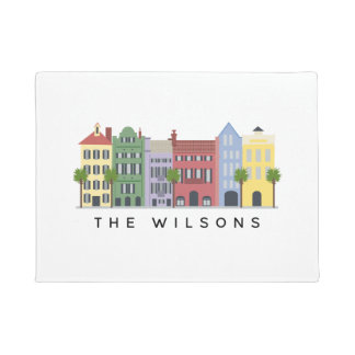 Rainbow Row Charleston SC Welcome Mat