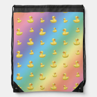 Rainbow rubber duck pattern drawstring bags