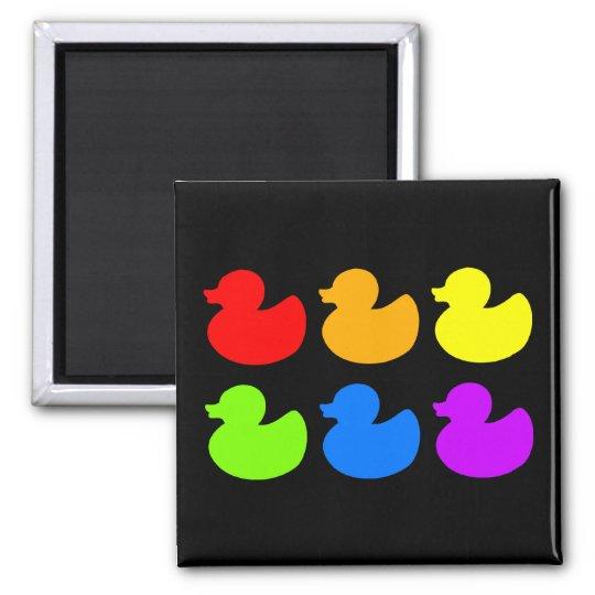 Rainbow Rubber Ducks on Black Square Magnet