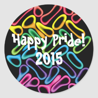 Rainbow Rubber Rings1 LGBT Gay Pride Stickers Round Sticker
