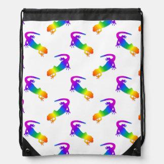 Rainbow Salamander Drawstring Backpacks
