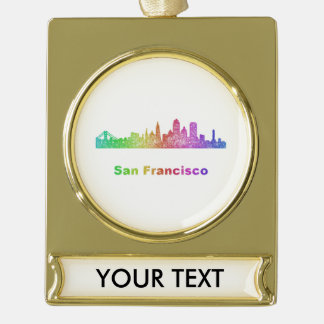 Rainbow San Francisco skyline Gold Plated Banner Ornament