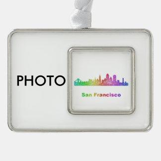 Rainbow San Francisco skyline Silver Plated Framed Ornament