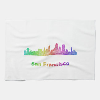 Rainbow San Francisco skyline Tea Towel