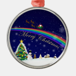 Rainbow Santa Christmas Ornament