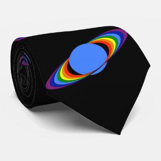 Rainbow Saturn Necktie for Astronomers, Black
