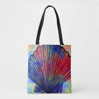 Rainbow Scallop Seashell Print Tote Bag
