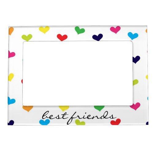 Rainbow Scattered Heart Best Friends Frame Magnetic Frame