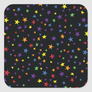 Rainbow Scattered Stars Square Stickers