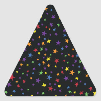 Rainbow Scattered Stars Triangle Sticker