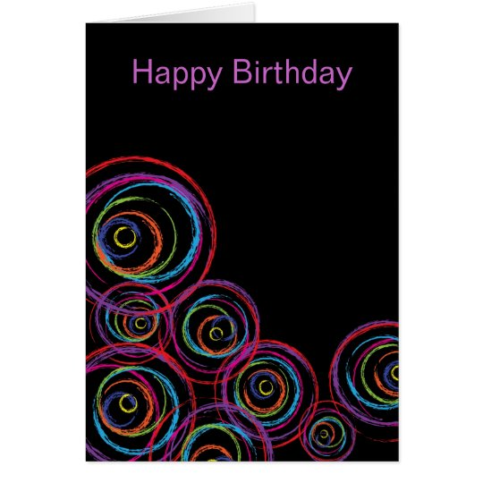 Rainbow Scribble Circles Card
