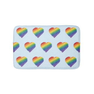 Rainbow scribble heart bath mat