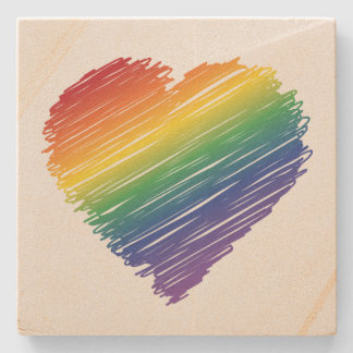 Rainbow scribble heart square stone coaster