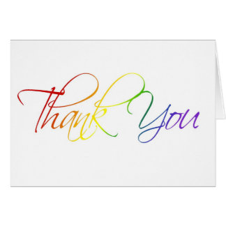 Rainbow Scriptina Thank You Card