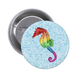 Rainbow Seahorse 6 Cm Round Badge
