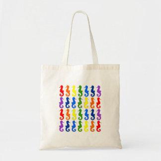 Rainbow Seahorse Tote Canvas Bag