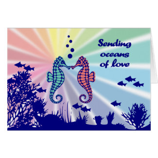 Rainbow Seahorses Oceans of Love Card