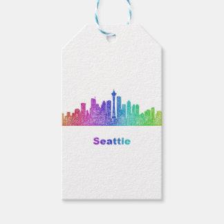 Rainbow Seattle skyline Gift Tags