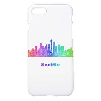 Rainbow Seattle skyline iPhone 7 Case