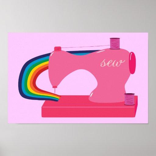 Rainbow Sewing Machine Poster
