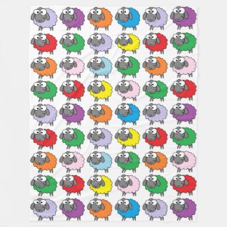 Rainbow Sheep Fleece Blanket